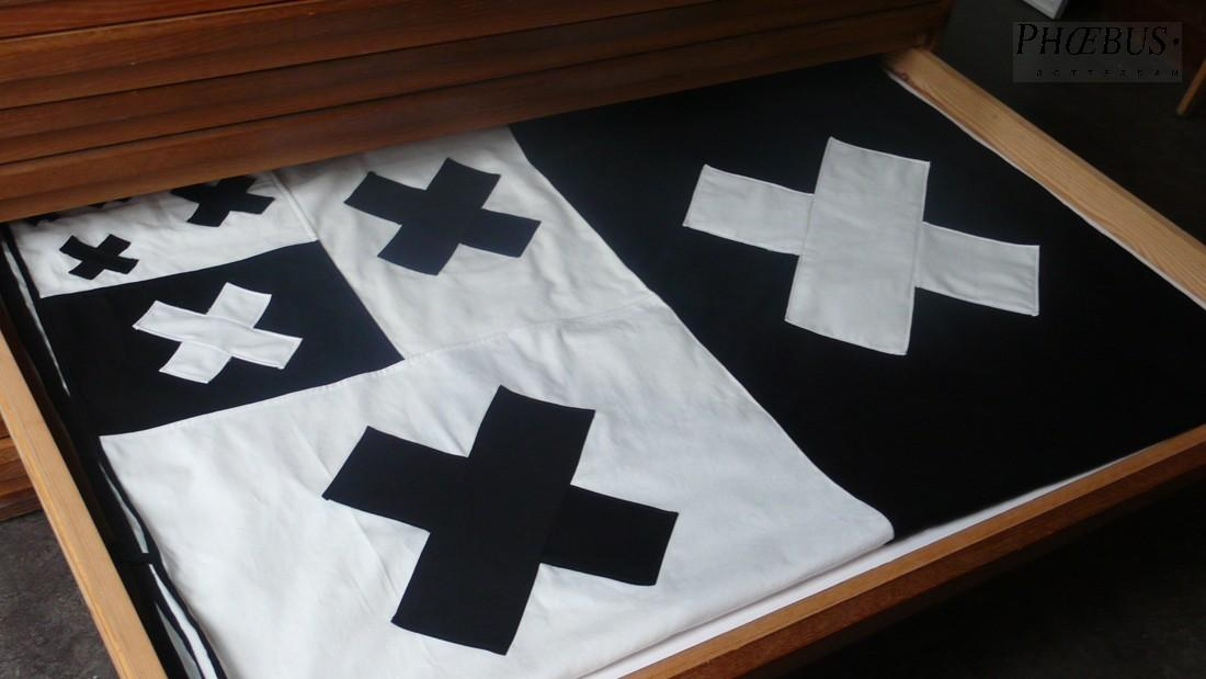 Thomas I'Anson, 'SOME CROSSES - RAISE / LOWER / INTER - (FUCK / FUCK / FUCK). All we ever wanted was self-control, all we ever got was what you dropped', 2012. Folded black and white cotton canvas flag, 200 x 280 cm. Hand made presentation box with embossed lettering, signed, 25 x 35 cm. Edition of 3 (number embossed on the base of each box). PHŒBUS•Rotterdam