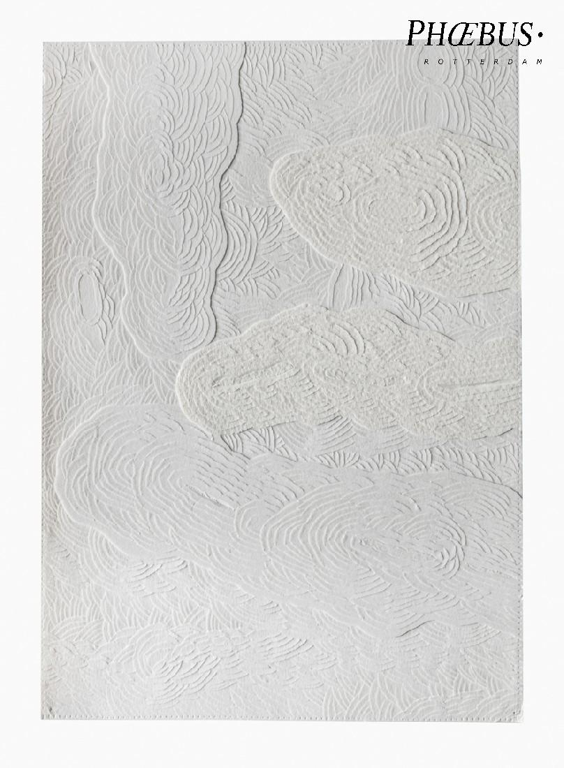 Célio Braga, 01. Untitled (White Blur), 2017. Cuts and carvings on paper. 29.5 x 21 cm PHŒBUS•Rotterdam