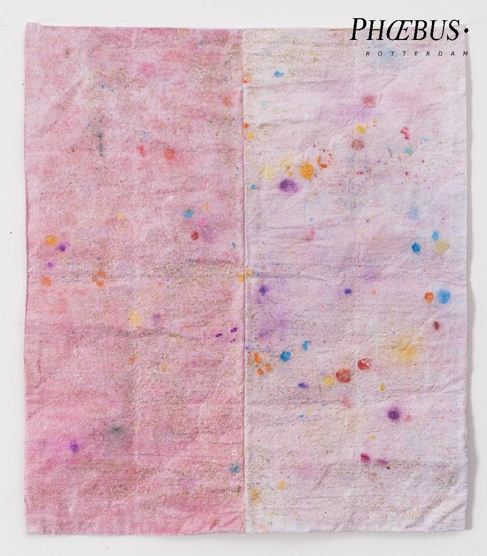 Célio Braga, 'Glittery Tears', 2018. Color pencil, salt and glitter on sewn and folded cloth. 73 x 79 cm. PHŒBUS•Rotterdam