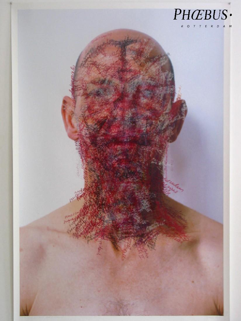 Toine Horvers, ''Head and Neck. Coronal Sections 04 [licht]'', 2004, kleurpotlood op foto-afdruk, 1.50 x 1 m., plus 3 cm. witrand rondom. PHŒBUS•Rotterdam