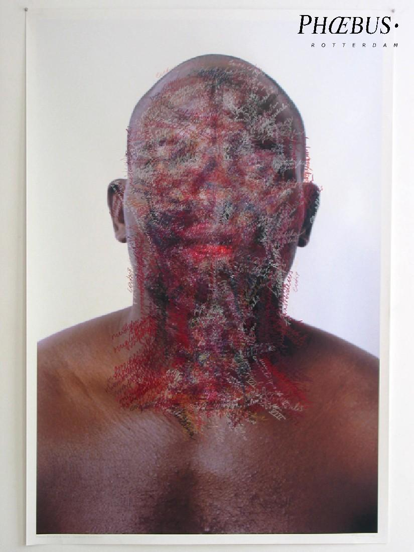 Toine Horvers, ''Head and Neck. Coronal Sections 04 [donker]'', 2004, kleurpotlood op foto-afdruk, 1.50 x 1 m., plus 3 cm. witrand rondom. PHŒBUS•Rotterdam